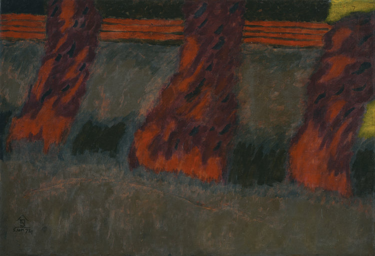 Nashar, Red Trees, oil on canvas, 64 x 94 cm, 1974