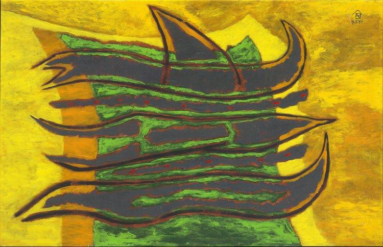 Nashar, Berlayar (Sailing), oil on canvas, 89 x 138 cm, 1977