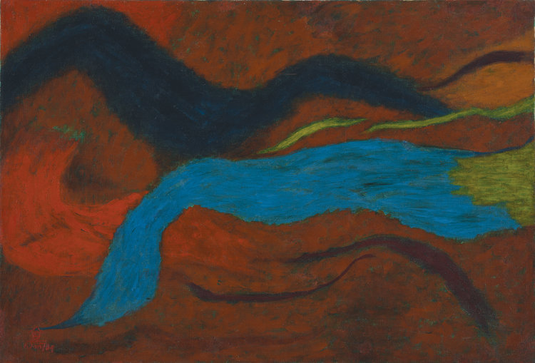 Nashar, Red Abstract, 1974, 65 x 95 cm