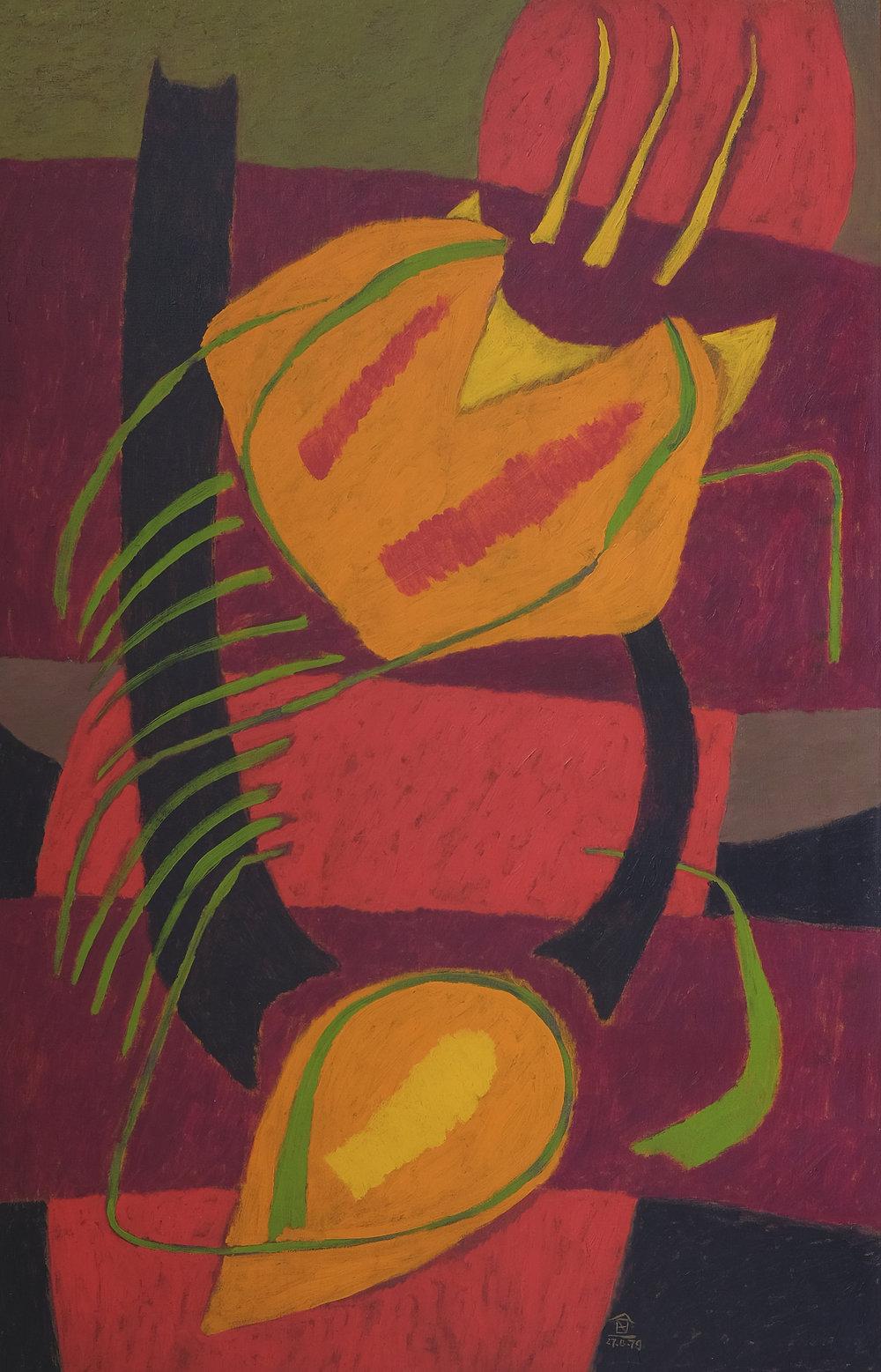 Nashar, Bertumbuh (Growth), oil on canvas, 137 x 88 cm, 1979