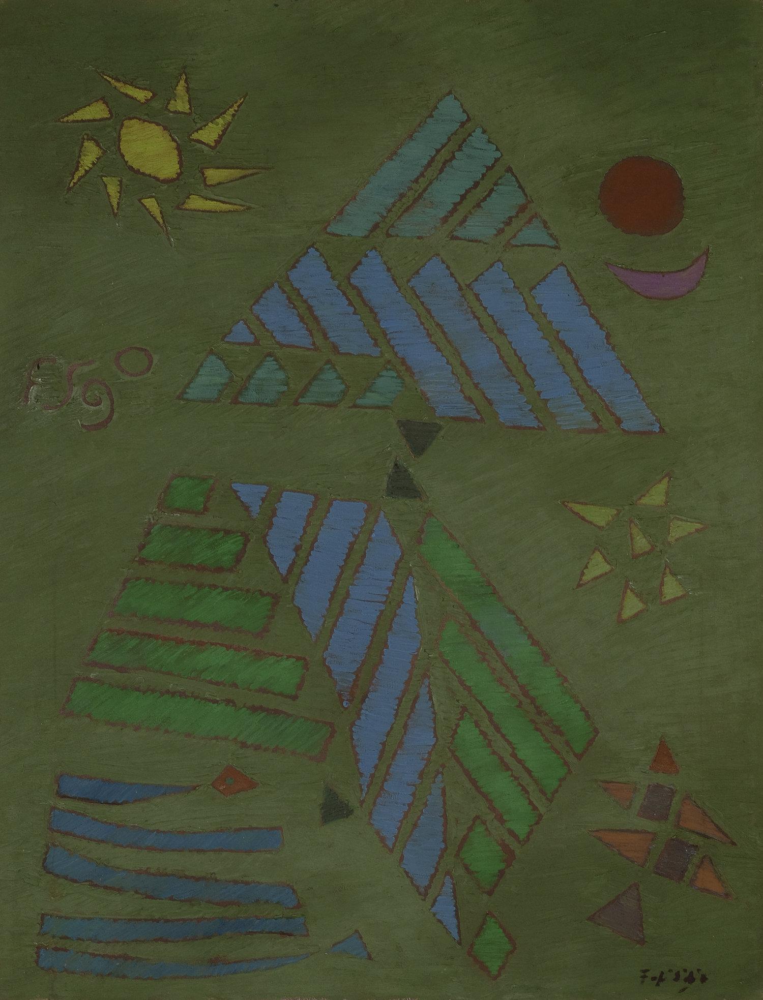 Fadjar Sidik, Abstraksi Matahari, Bulan dan Bintang (Sun, Moon and Star Abstraction), oil on canvas, 90 x 70 cm, 1971