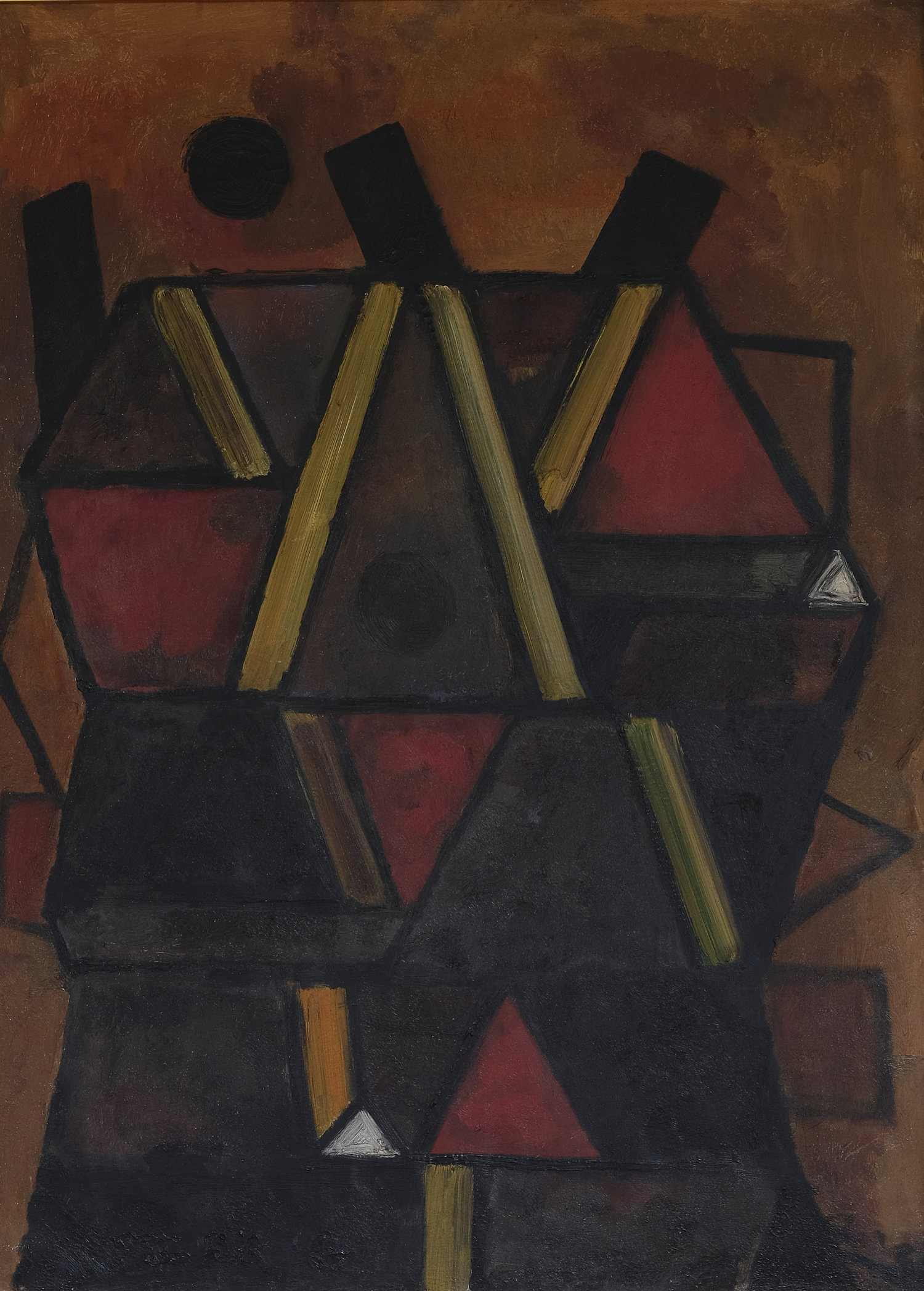 Fadjar Sidik, Abstraksi, oil on canvas, 138 x 100cm, 1967