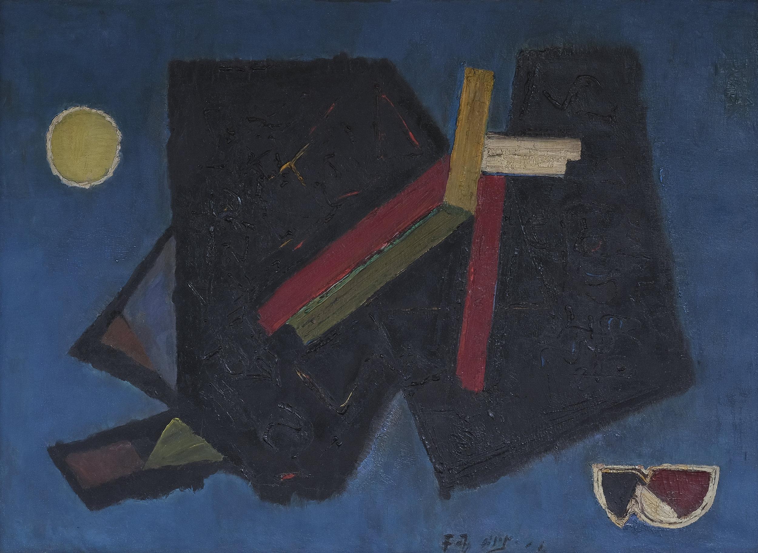 Fadjar Sidik, Dinamika Keruangan, oil on canvas, 100 x 139 cm, 1960