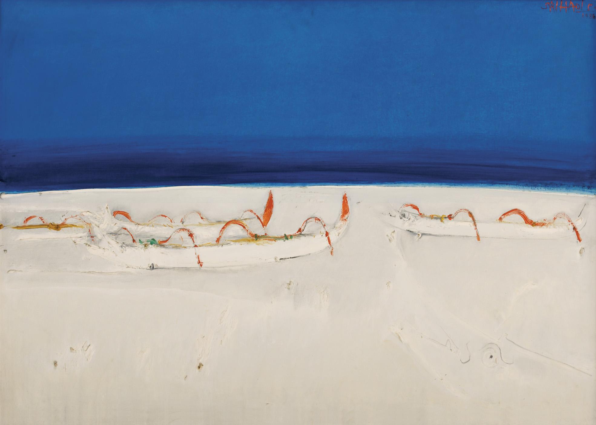 Srihadi Soedarsono, Horizon and the Fishing Boats, oil on canvas, 100 x 140 cm, 1986