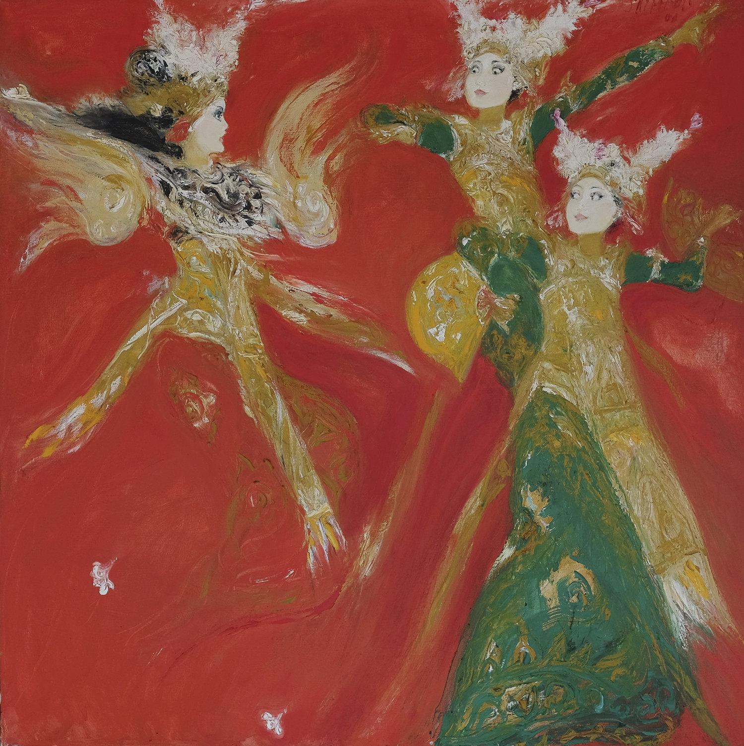 Srihadi Soedarsno, Spirit Legong, 2001, 150 x 150 cm