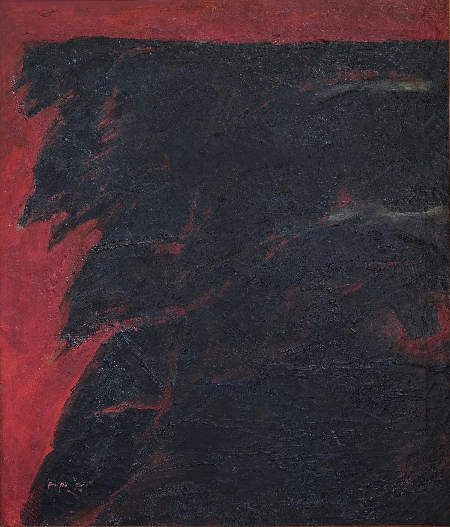 Popo Iskandar, Cahaya dicelah Kabut Pagi (Dawn Peeking behind the Morning Fog), oil on canvas, 70 x 60 cm, 1976