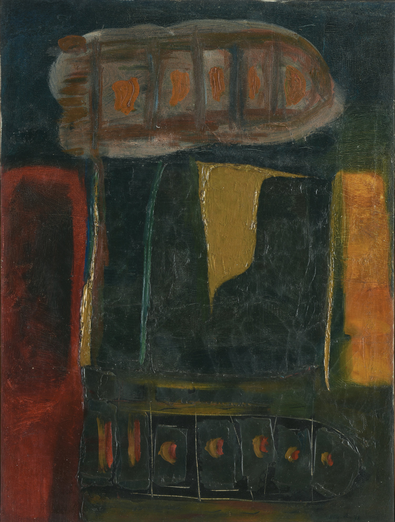 Umi Dachlan, Abstract, oil on canvas, 75 x 57 cm, 1976