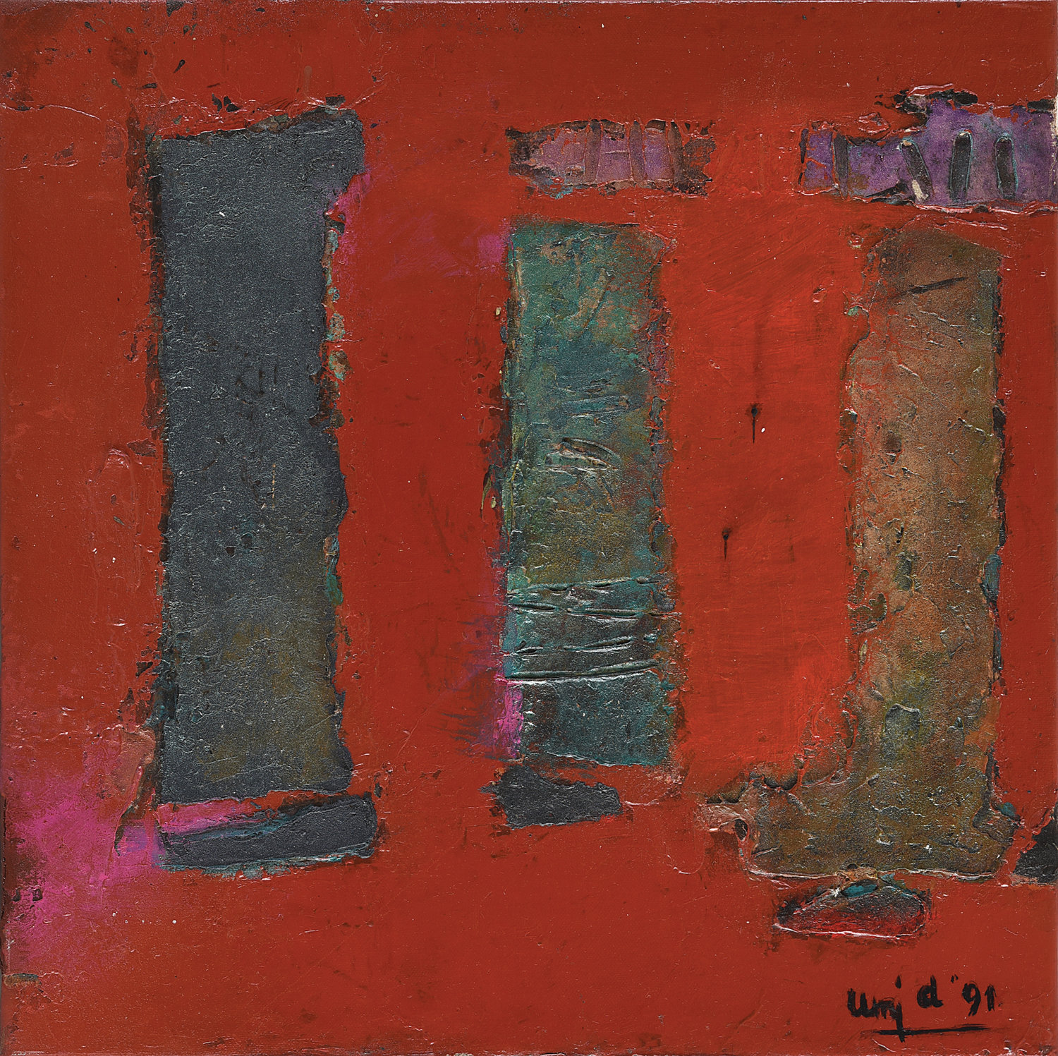 Umi Dachlan, Three Pillars of Abstraction, oil and mixed media on canvas, 40 x 40 cm, 1991