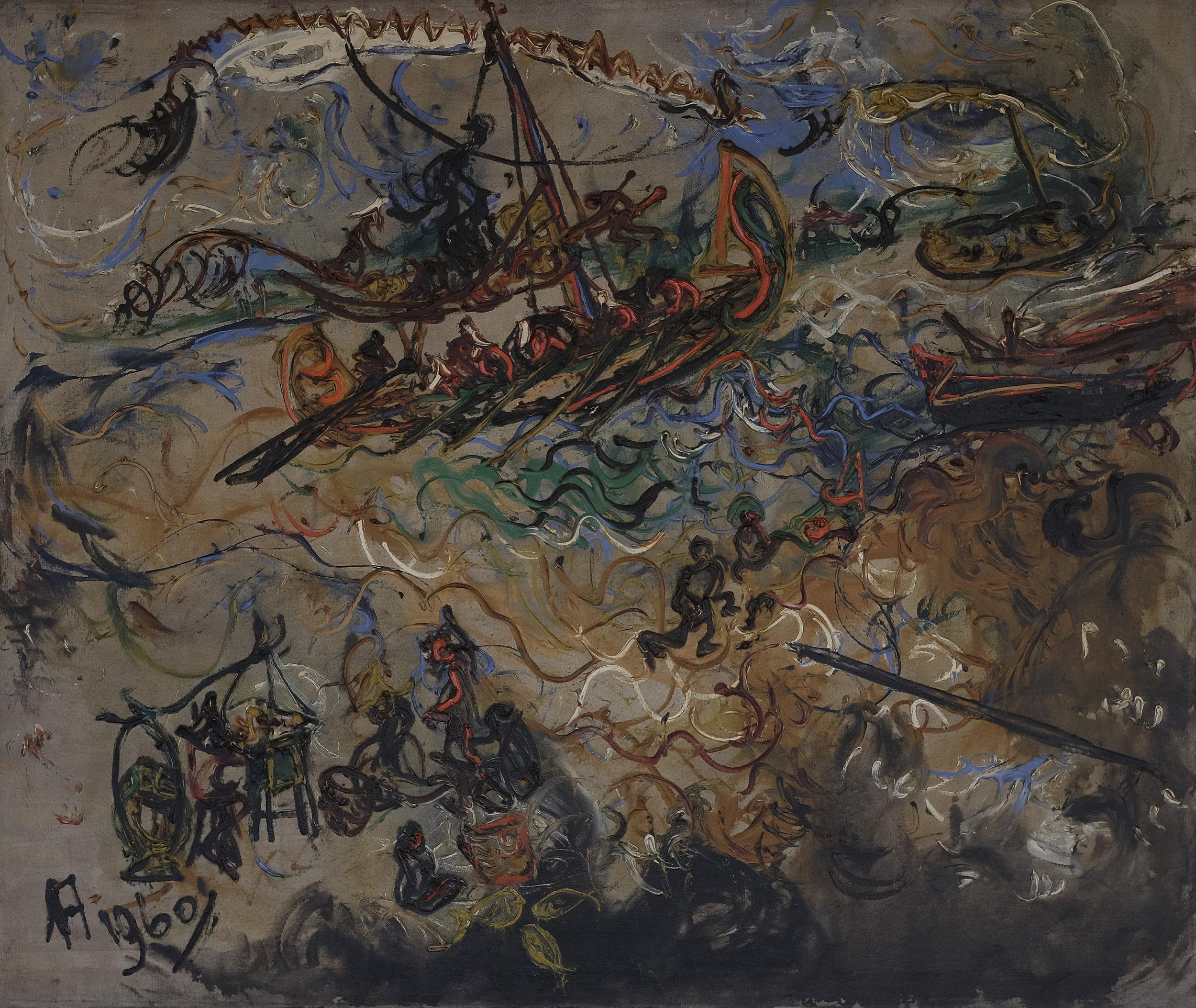 Affandi, Pemandangan Laut Jawa (Seascape of the Java Sea), oil on canvas, 104 x 124 cm, 1960