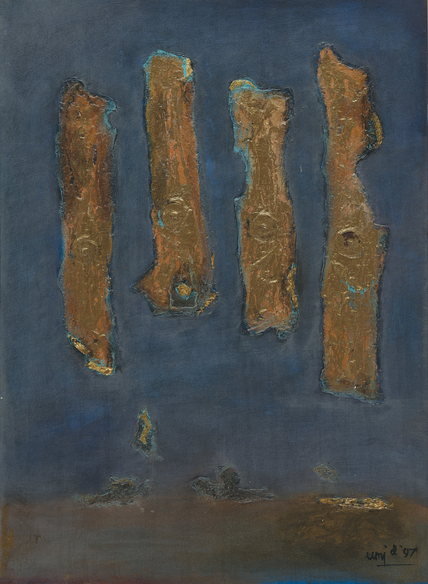 Umi Dachlan, Golden Pillars on Blue, mixed media on canvas, 58 x 42 cm, 1997
