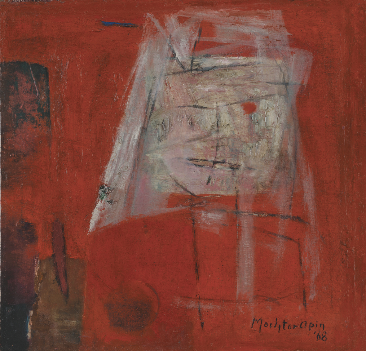 Mochtar Apin, Abstract Face, oil on canvas, 33 x 33 cm, 1968