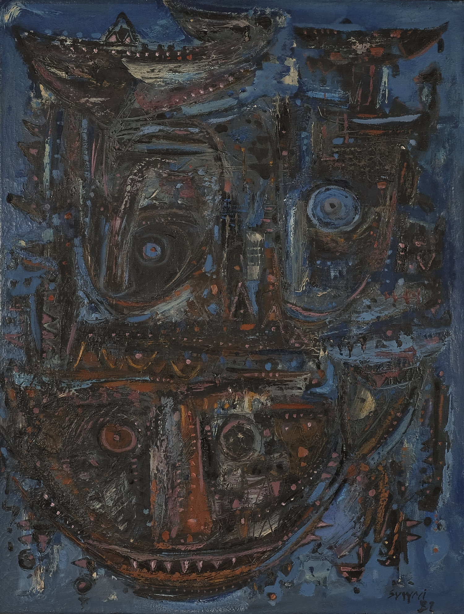 Suwaji, Topeng-Topeng Primitif (Primitive Mask), oil on canvas, 95 x 72 cm, 1981