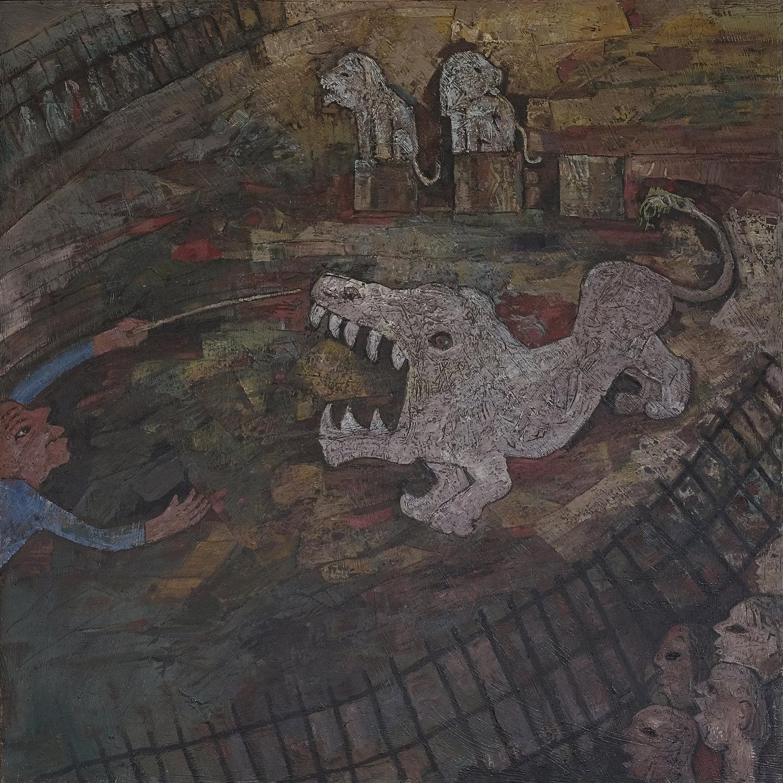 Haji Widayat, Affandi Nonton Sirkus (Affandi Watching Circus), oil on canvas, 136 x 136 cm, 1991