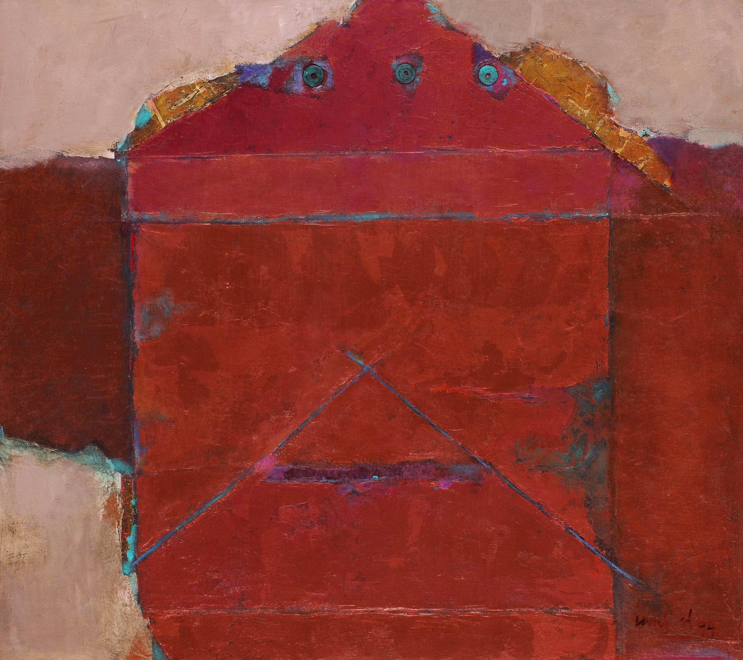 Umi Dahlan, The Mystery of Antique Coin on Copper Red, 1994, 80 x 90 cm
