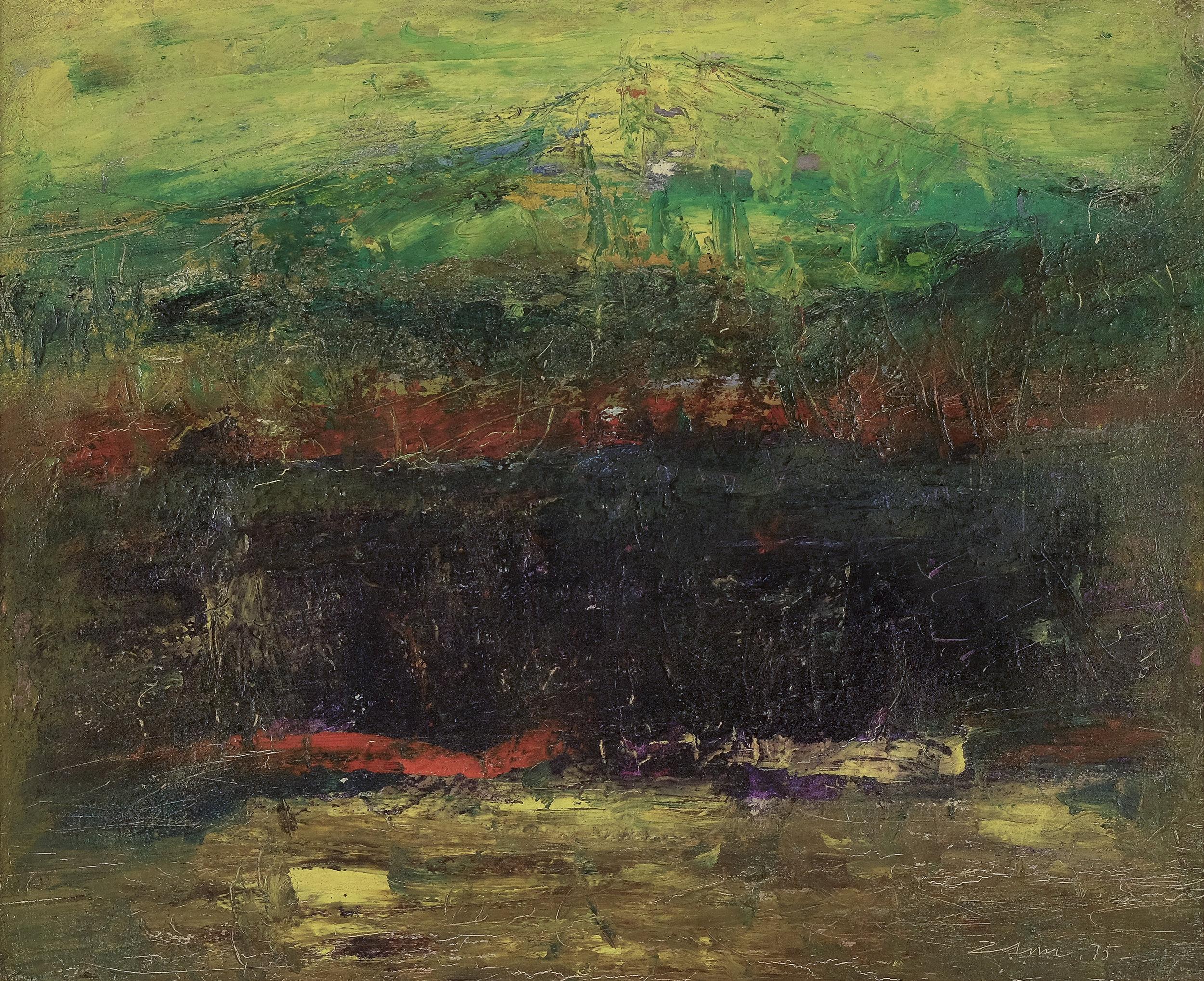 Zaini, Gunung dan Laut (The Mountain and the Sea), oil on canvas, 30 x 40 cm, 1975