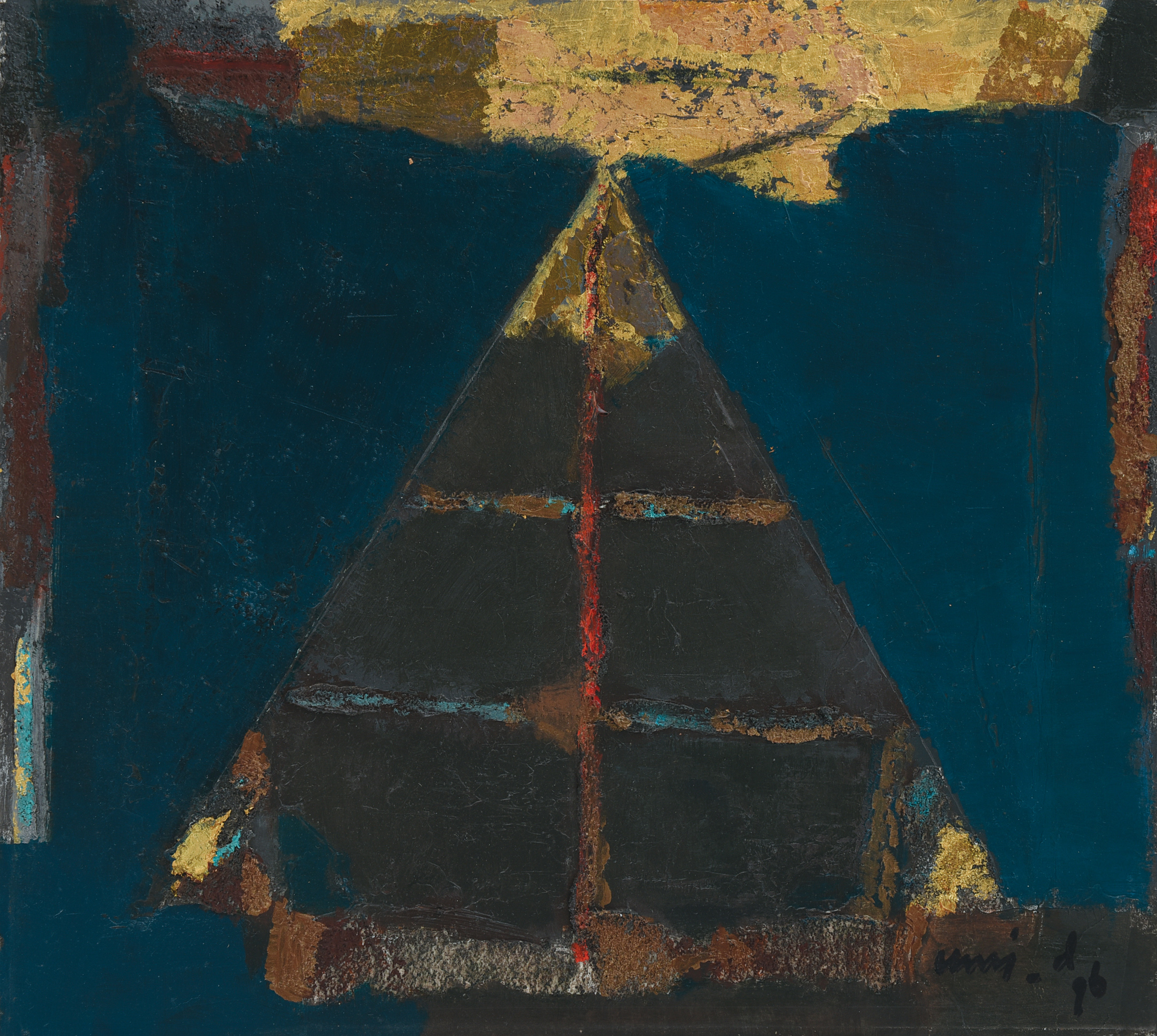 Umi Dachalan, Contemplation, oil and mixed media on paper mounted on board, 36 x 40 cm, 1996