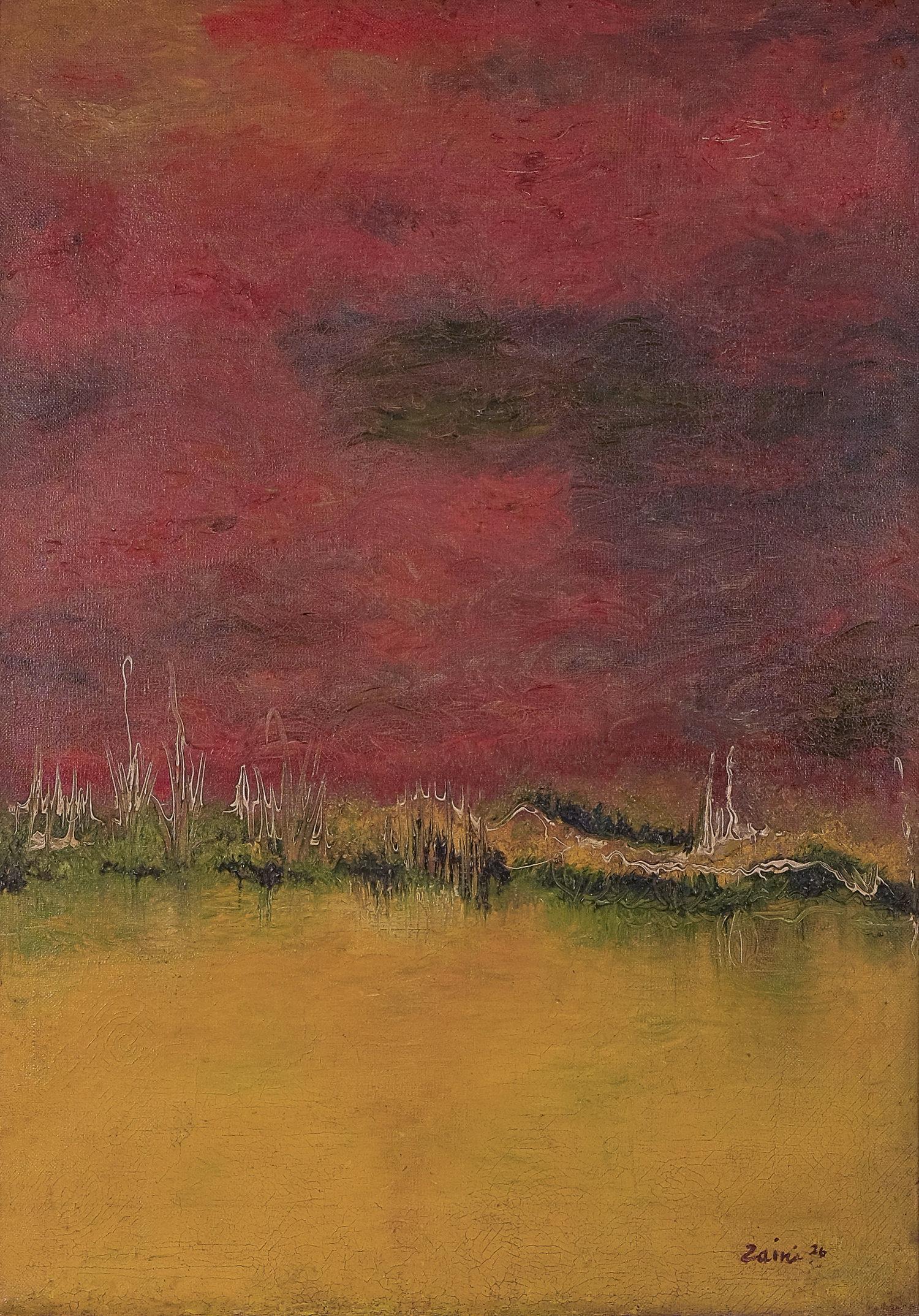 Zaini, Langit Merah (Crimson Sky), oil on canvas, 70 x 50 cm, 1976