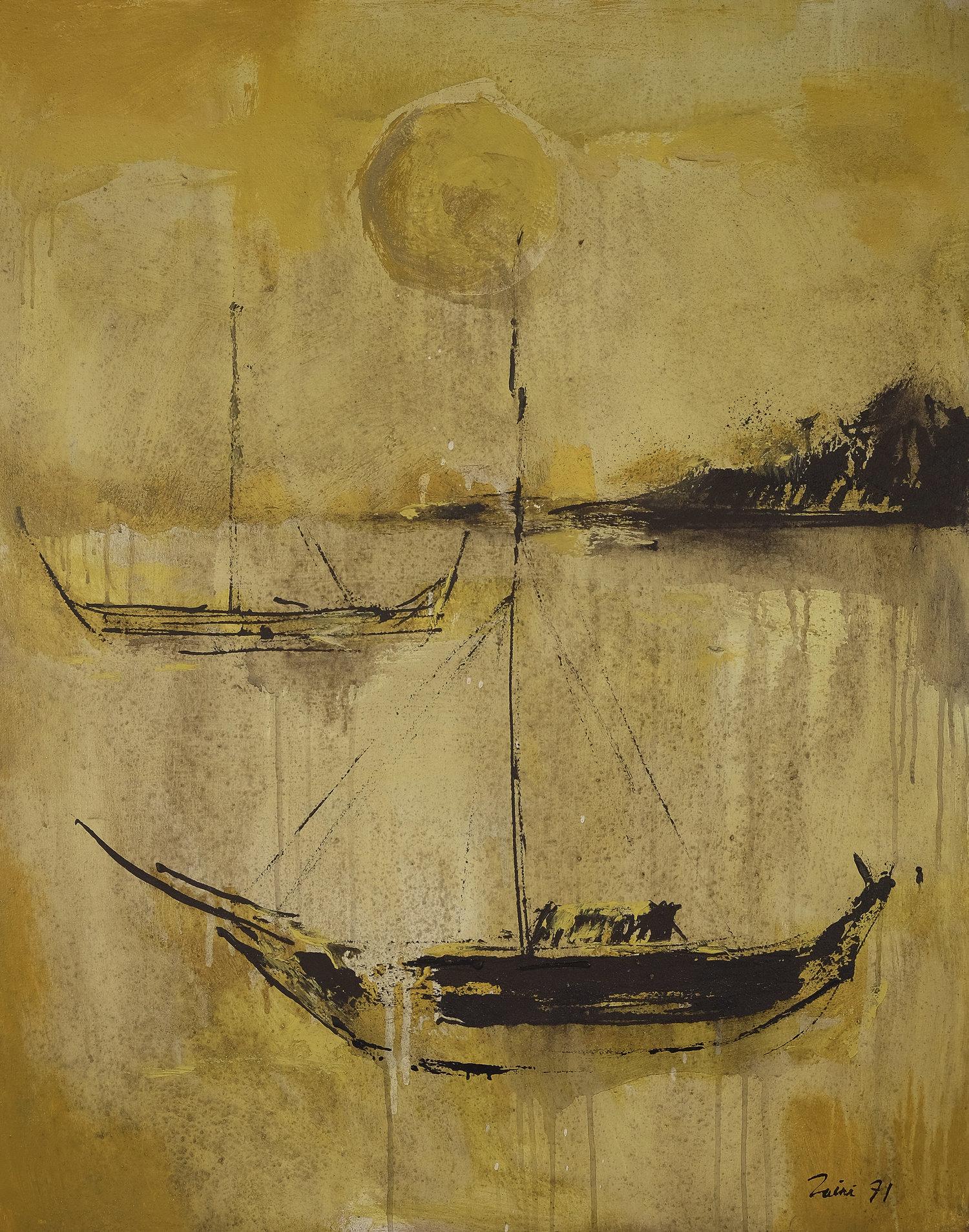 Zaini, Ships, oil on canvas, 100 x 80 cm, 1971