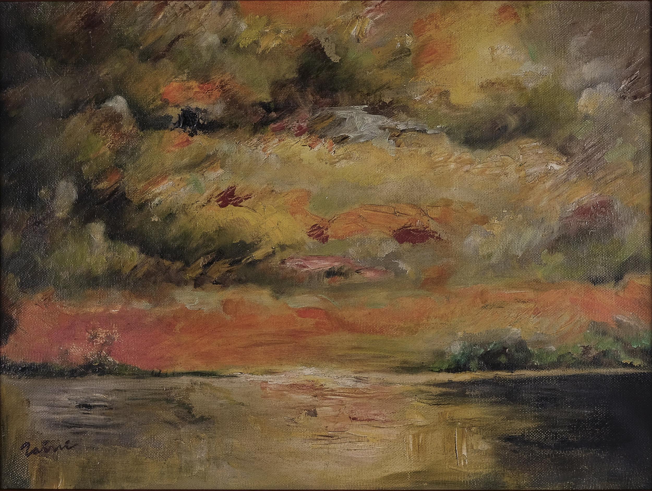 Zaini, Lembayung Senja (Crimson Dusk), oil on canvas, 30 x 40 cm, 1970s