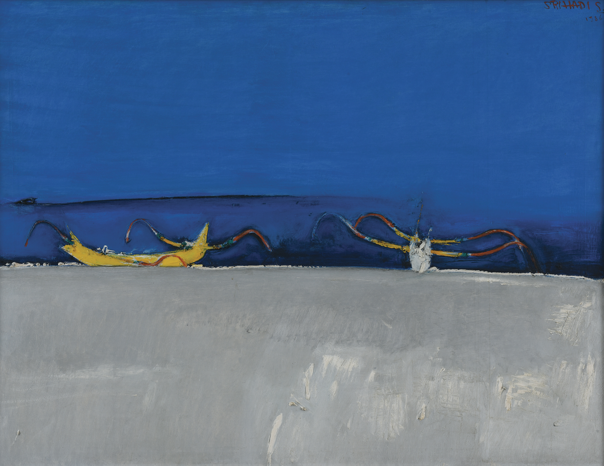 Srihadi Soedarsono, Horizon and the Fishing Boats, 1986, 100 x 130 cm