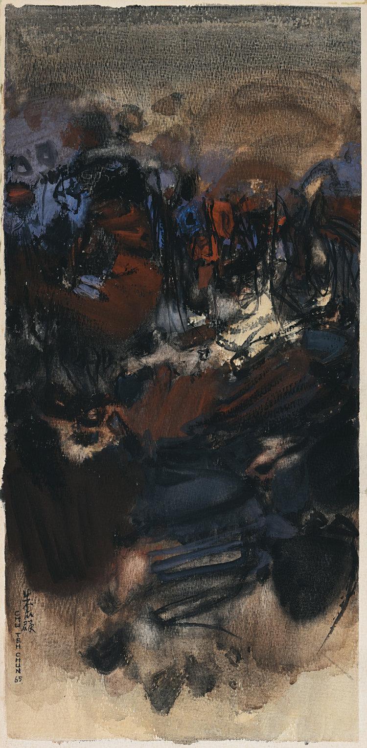 Chu Teh Chun, Composition No. 238, gouache on paper, 52 x 26 cm, 1966