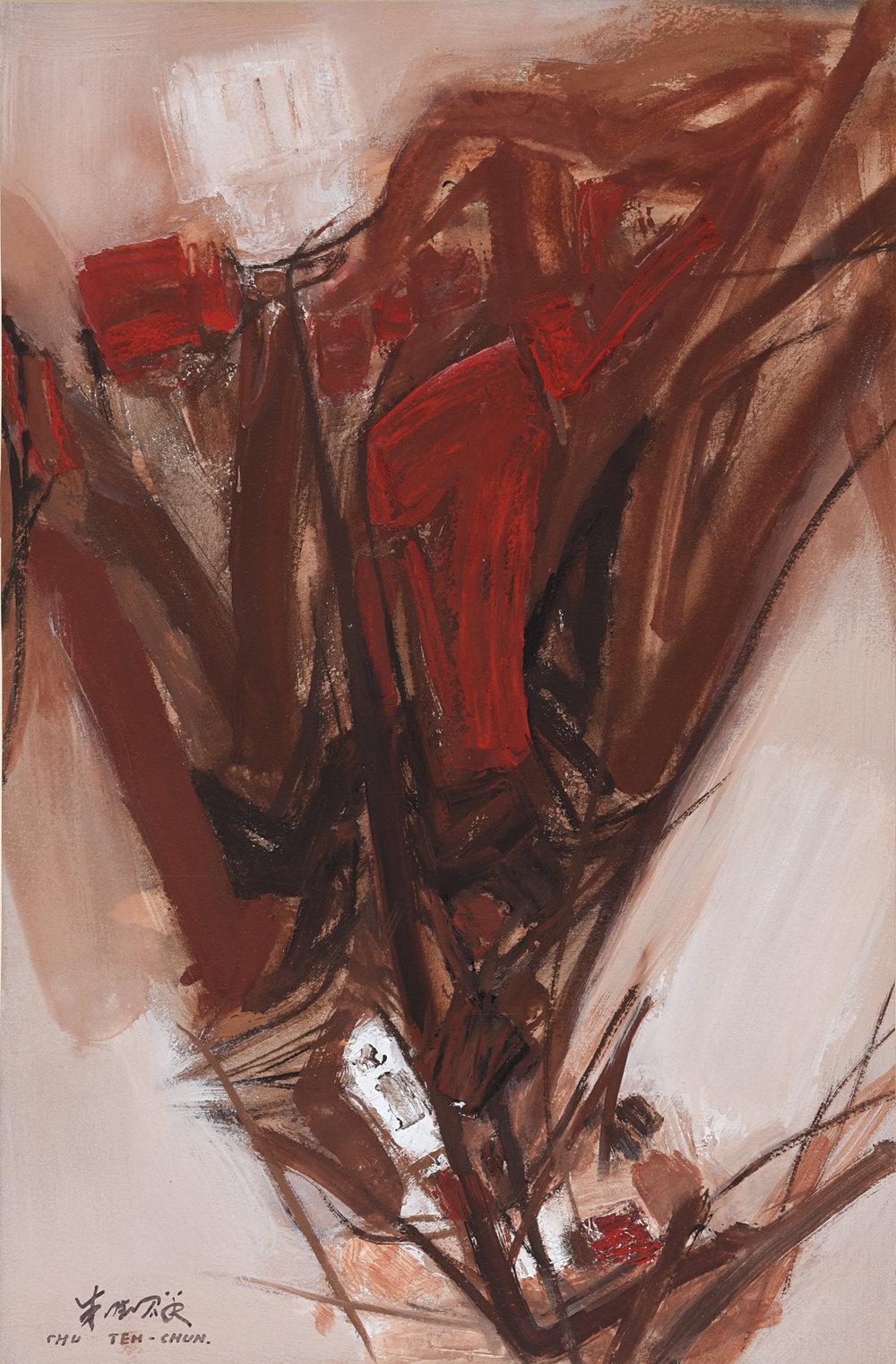 Chu Teh Chun, Composition 1961, gouache on paper, 53 x 35 cm, 1961