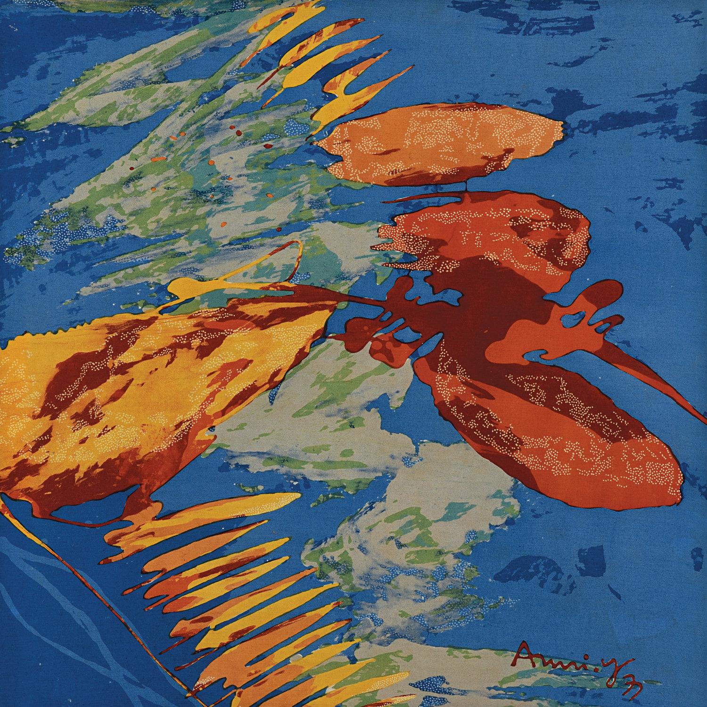 Amri Yahya, Expressive Abstraction, batik on linen canvas, 50 x 50 cm, 1970s