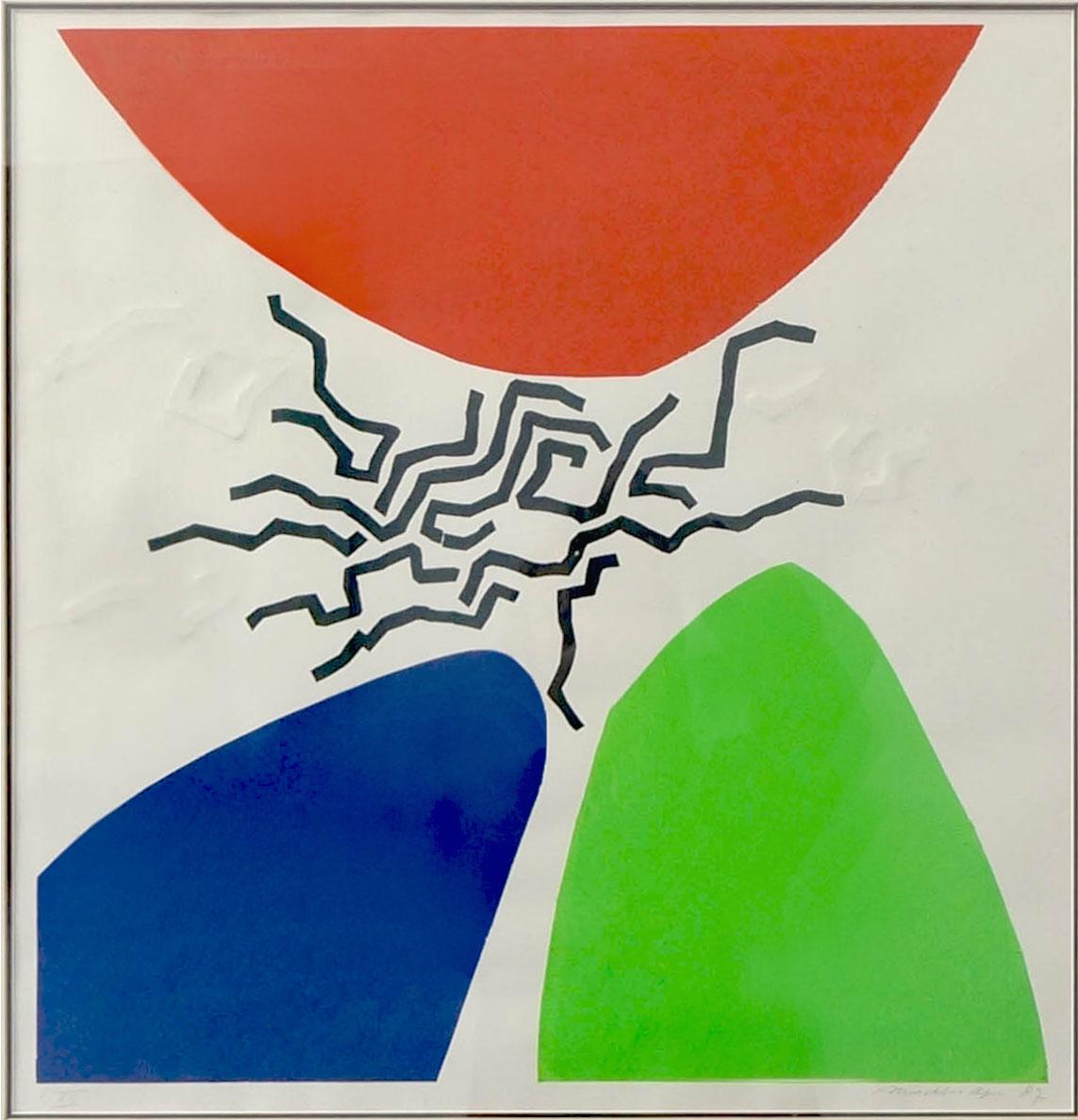 Mochtar Apin, Gunung (Mountain), lithographic print, 50 x 50 cm, 1987