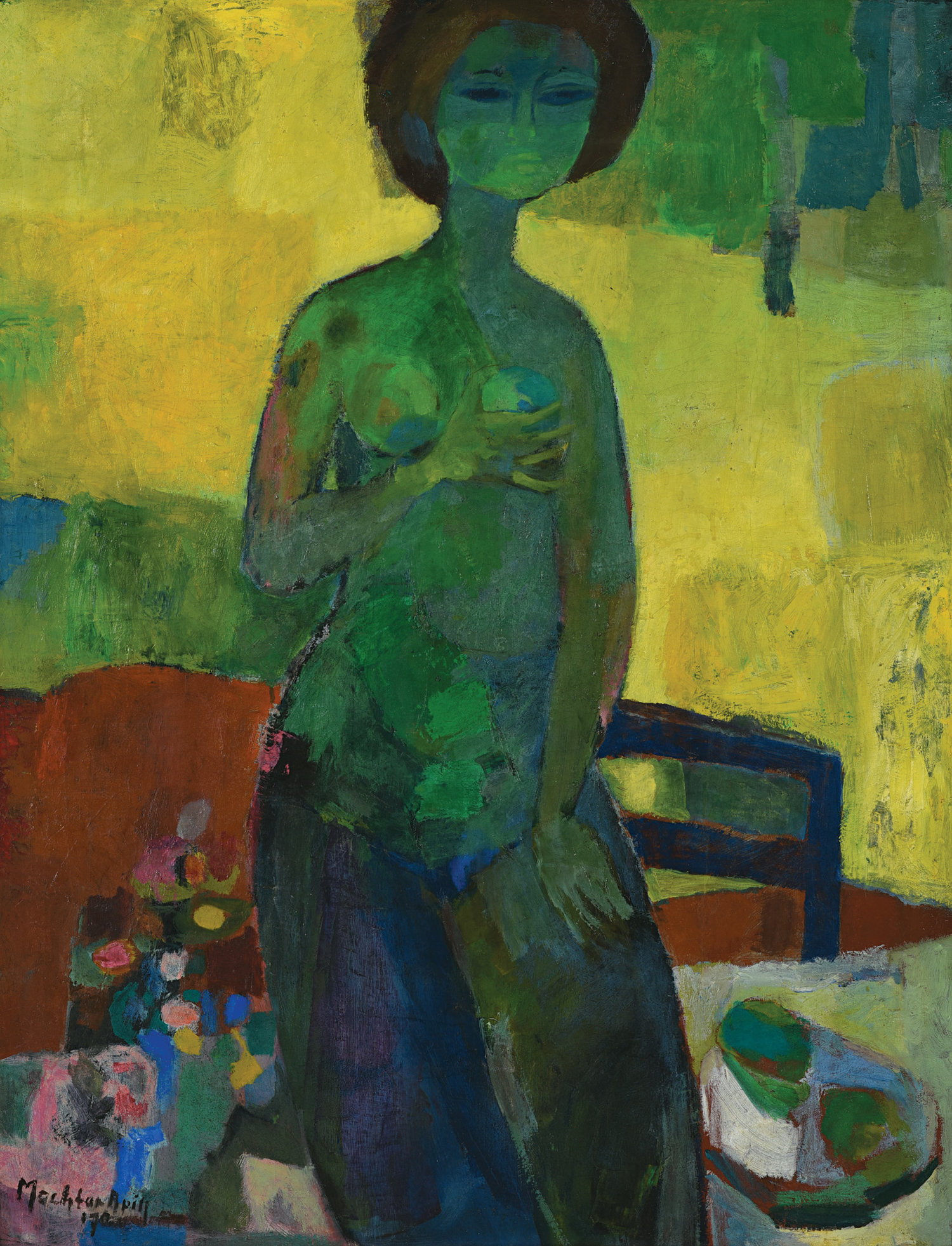 Mochtar Apin, Lady, oil on canvas, 117 x 86 cm, 1970