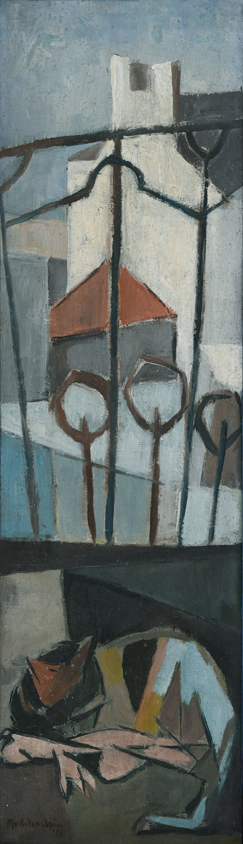 Mochtar Apin, Kucing (Cat), oil on canvas on board, 64 x 18.9 cm, 1956