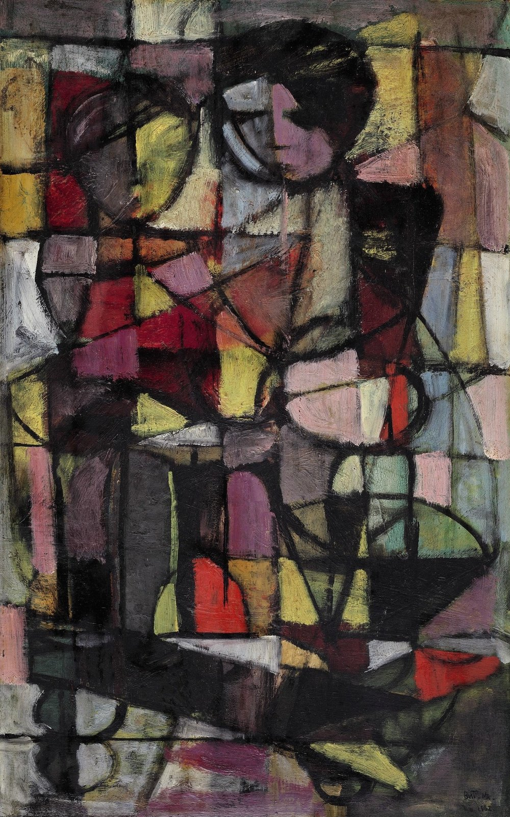 But Mochtar, Figures, oil on masonite board, 54.5 x 34.5 cm, 1962