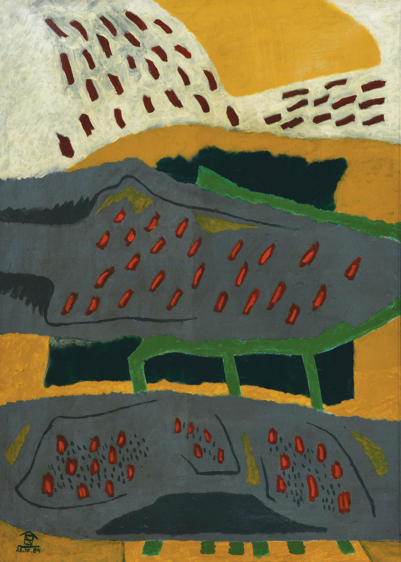 Nashar, Rintik-Rintik (Drizzle), oil on canvas, 88 x 64 cm, 1984