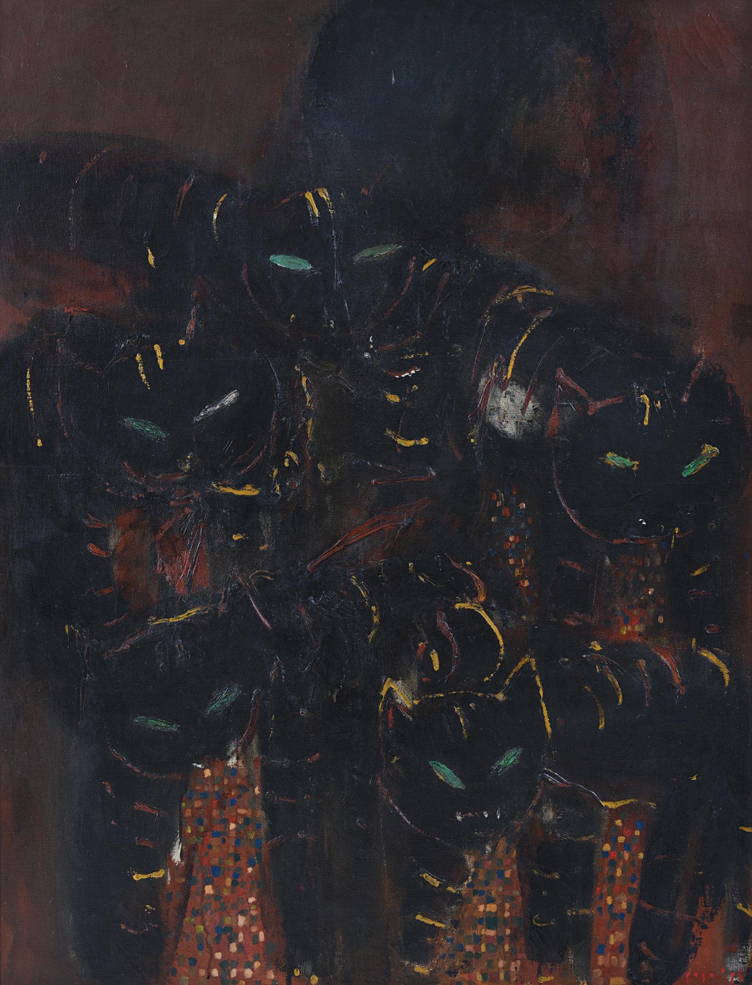 Popo Iskandar, Five Cats, oil on canvas, 124 x 94 cm, 1995