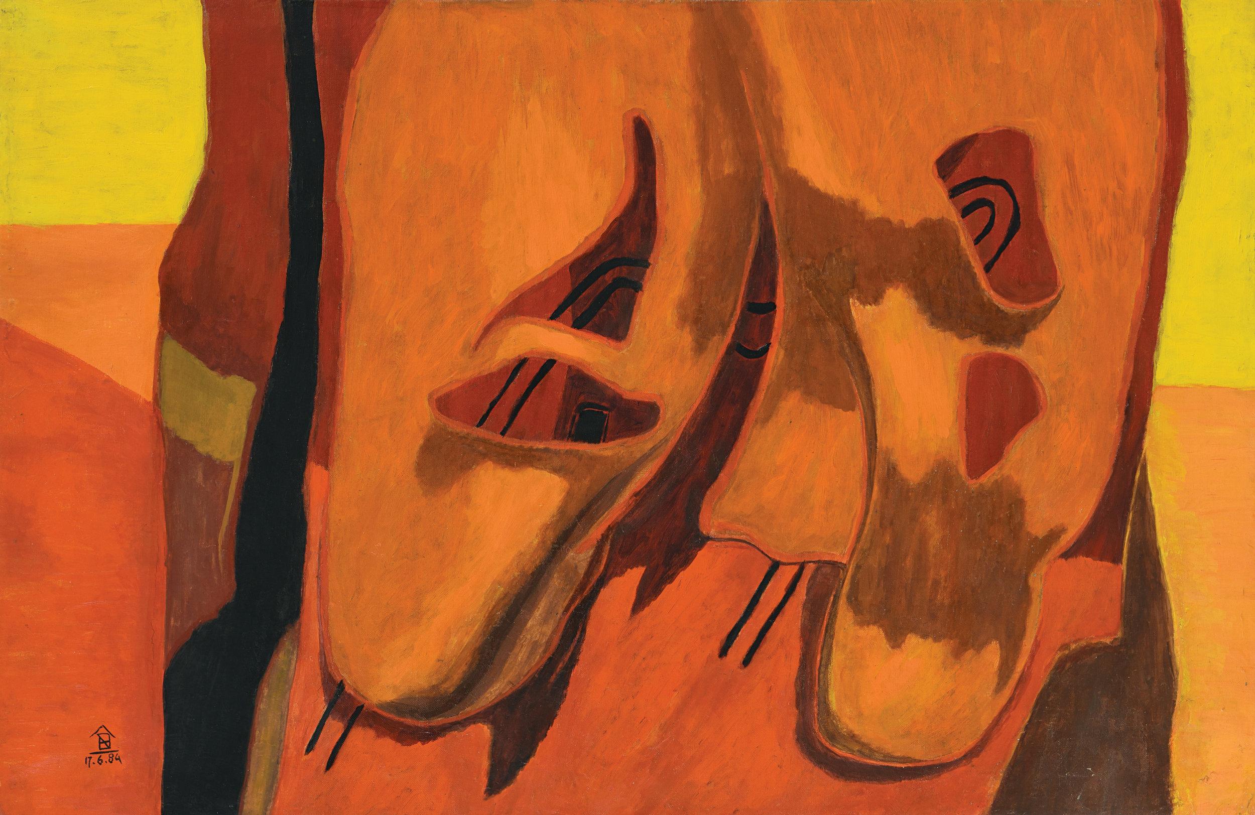 Nashar, Untitled, oil on canvas, 64 x 98 cm, 1984