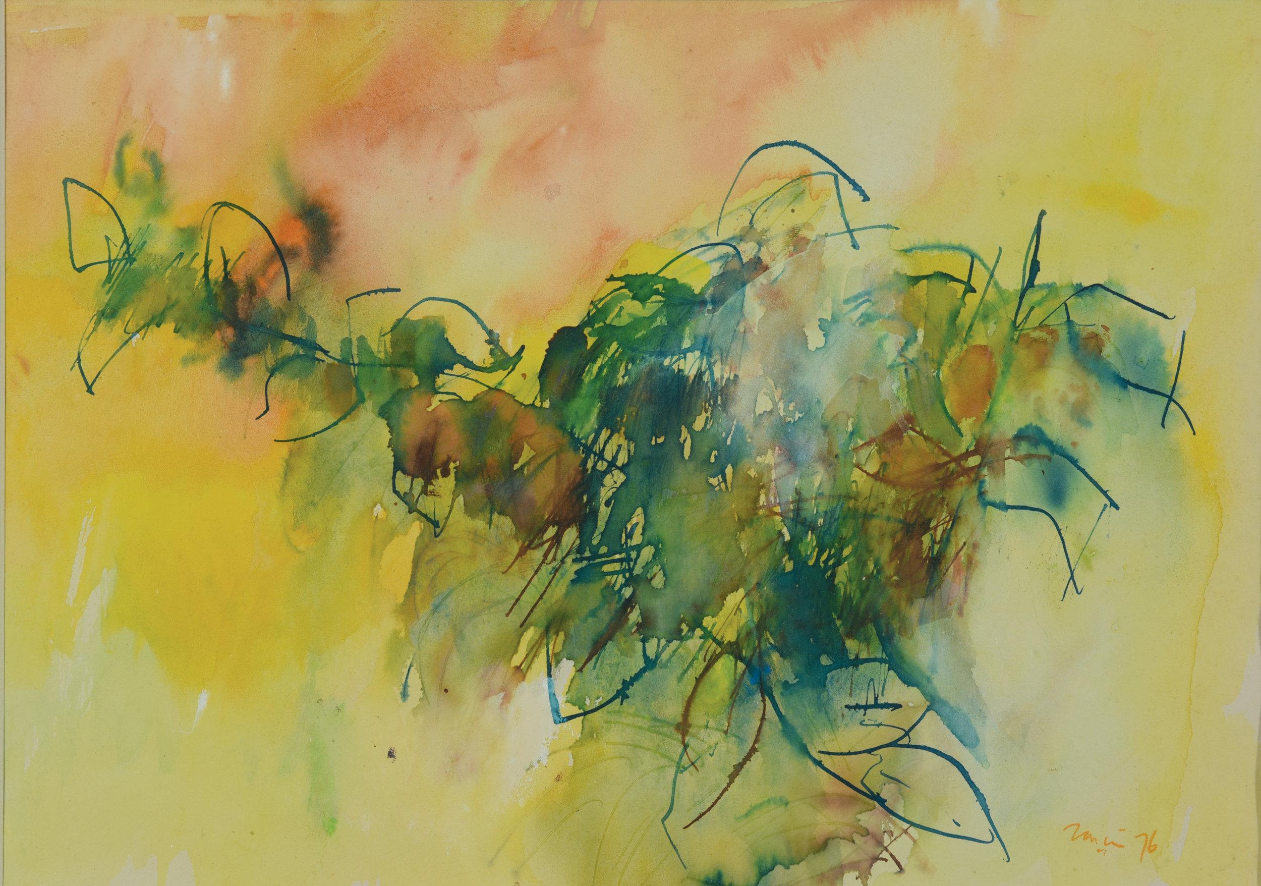 Zaini, Abstract Landscape, watercolour on paper, 28 x 39 cm, 1976