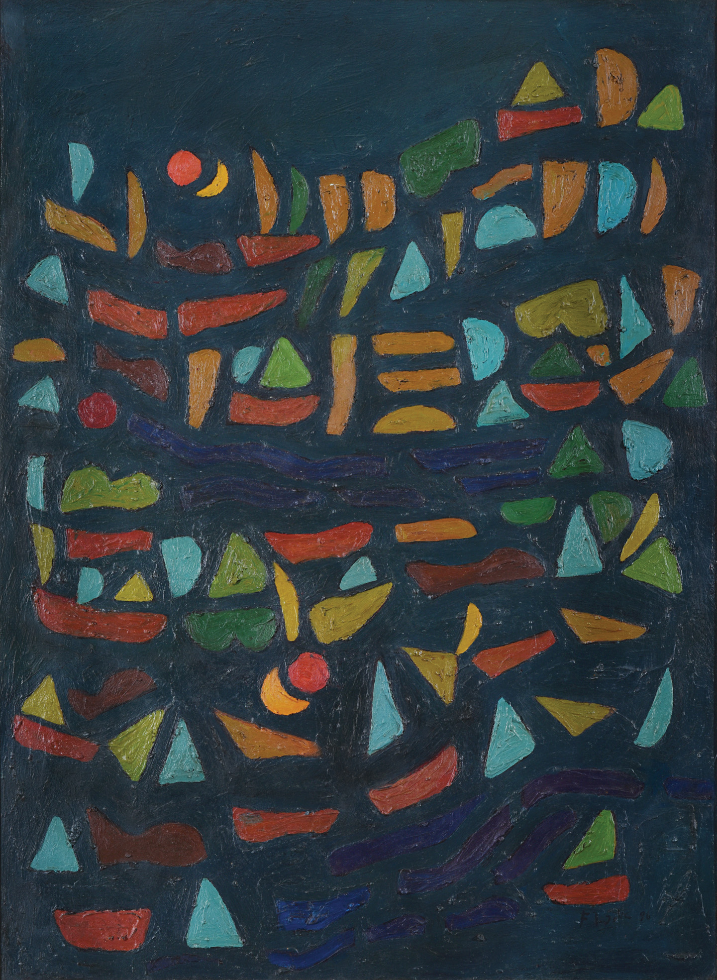 Fadjar Sidik, Bentuk Bertumpuk dengan Dua Matahari (Stacked Forms with Two Suns), oil on canvas, 90 x 65 cm, 1996