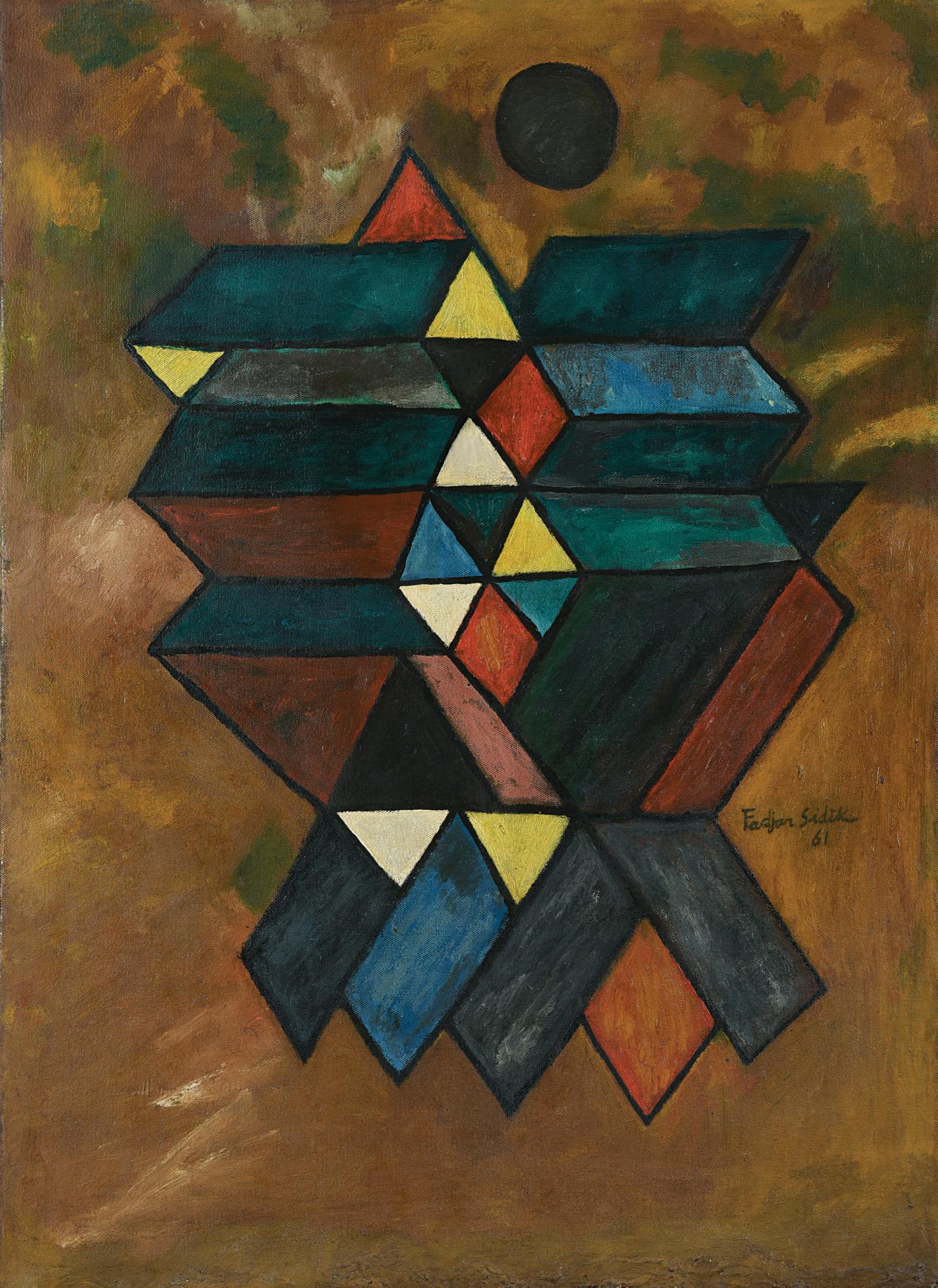 Fadjar Sidik, Untitled, oil on canvas, 75 x 55 cm, 1961