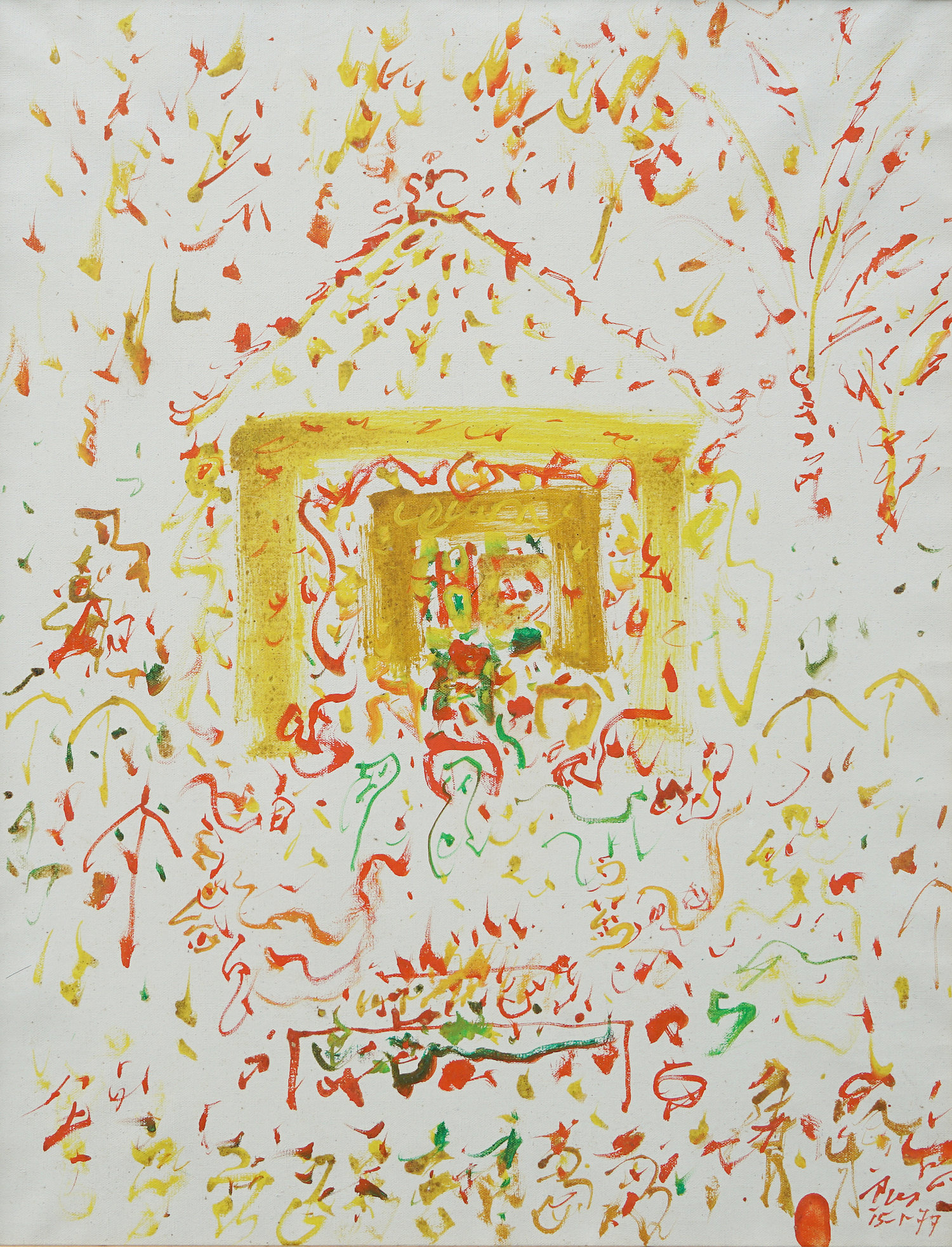 Rusli, Houses, oil on canvas, 73 x 60 cm, 1977