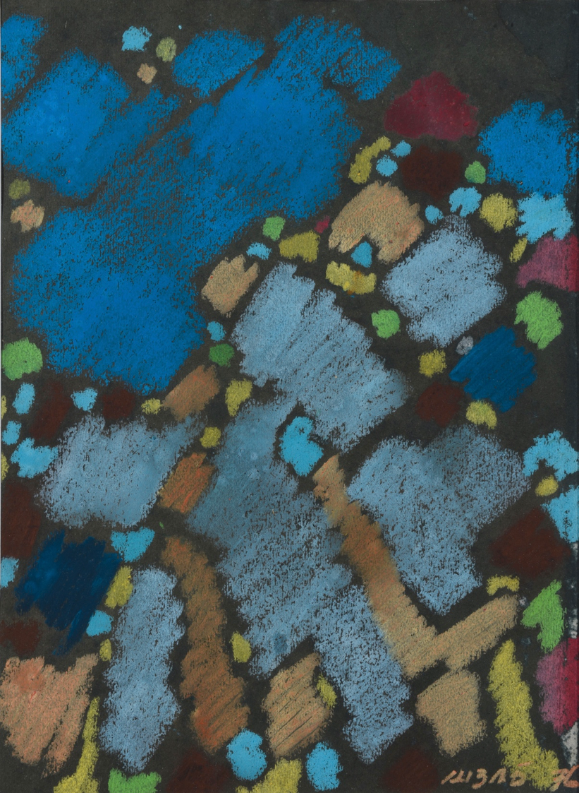 Abas Alibasyah, Abstract Composition 1, pastel on paper, 37 x 27 cm, 1976