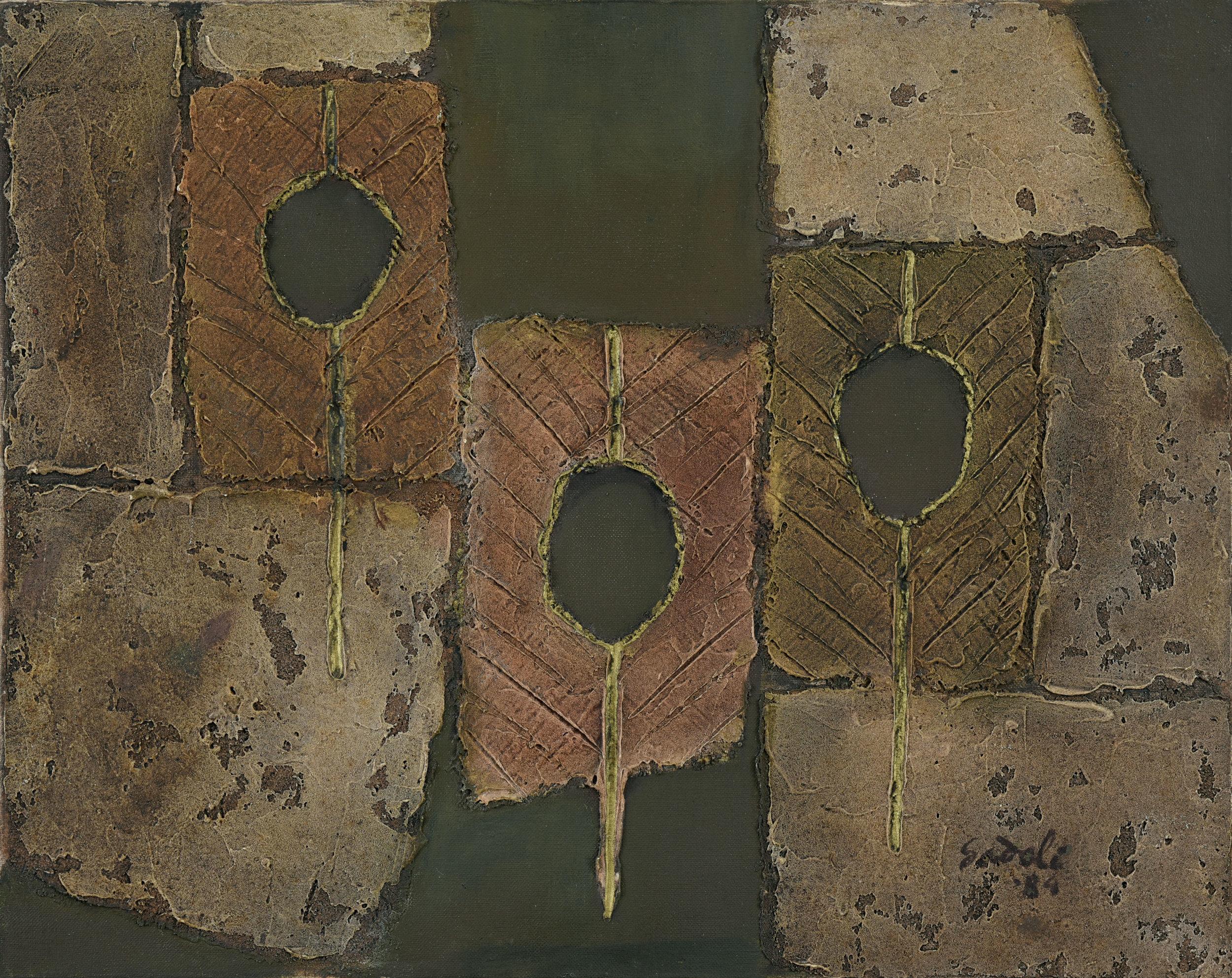 Ahmad Sadali, Untitled, mixed media on canvas, 40 x 50 cm, 1985