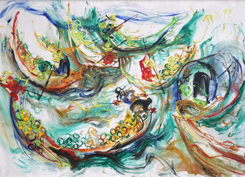 Affandi, The Floating Market in Bangkok, oil on canvas, 95 x 135 cm, 1970
