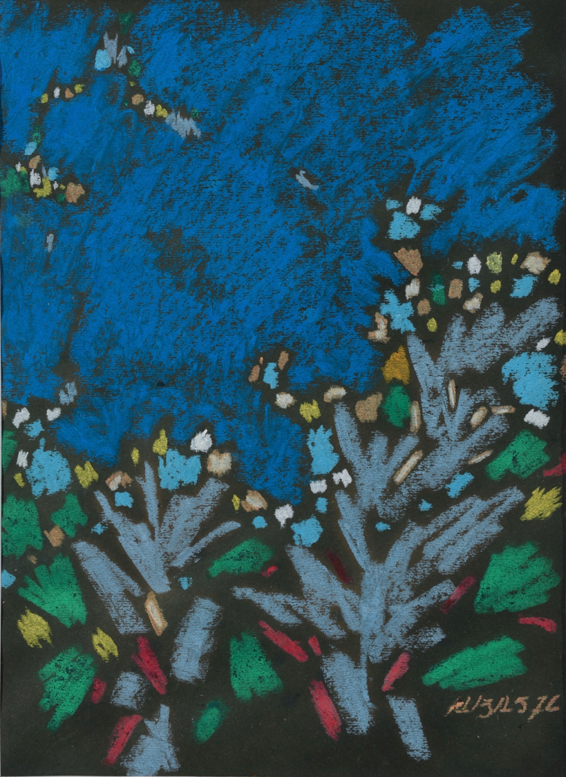 Abas Alibasyah, Abstract Composition 2, pastel on paper, 37 x 27 cm, 1976