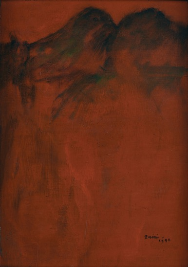 Zaini, Mountains in Red Landscape, oil on canvas, 82 x 58 cm, 1976