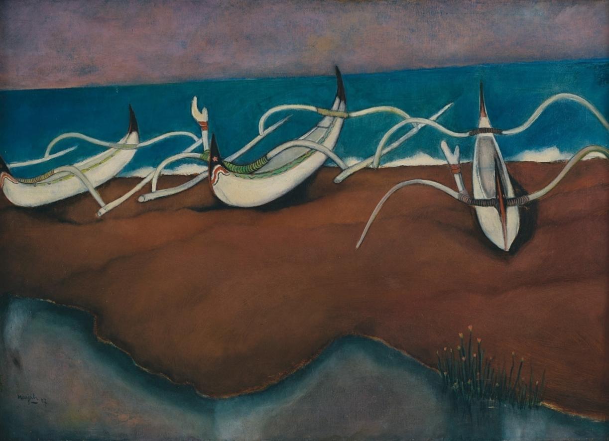 Nasjah Djamin, Perahu-Perahu (Boats), oil on canvas, 60 x 83.5 cm, 1957