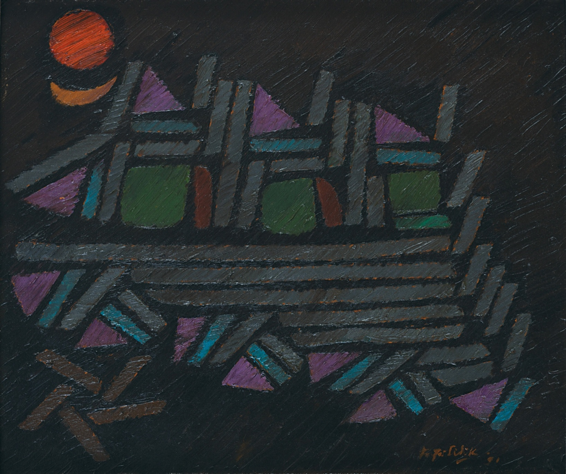 Fadjar Sidik, Lurik-Lurik, oil on canvas, 49.5 x 58.5 cm, 1991