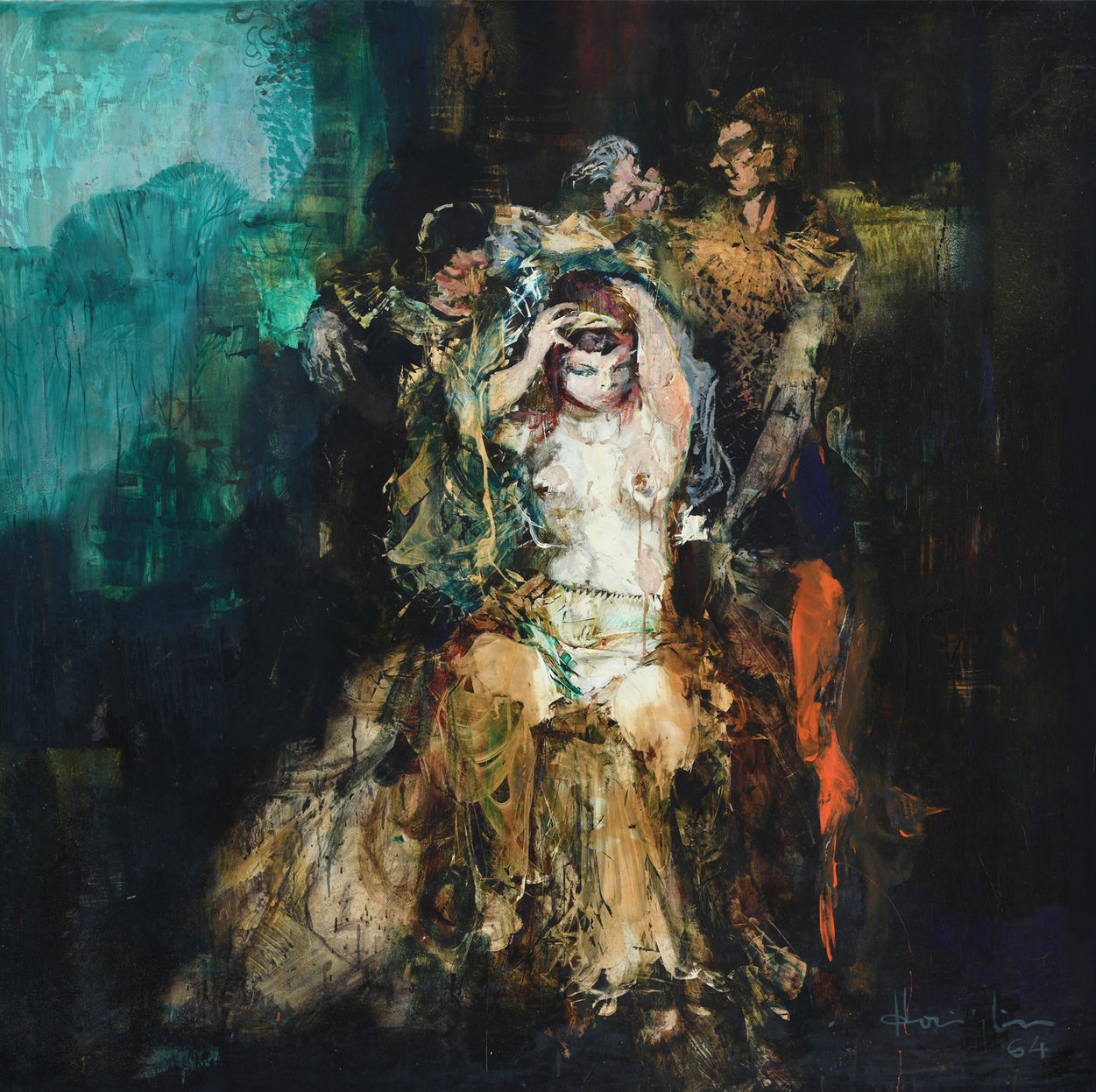 Vincent Hoisington, Untitled (A Scene from Opera), oil on board, 150 x 150 cm, 1964