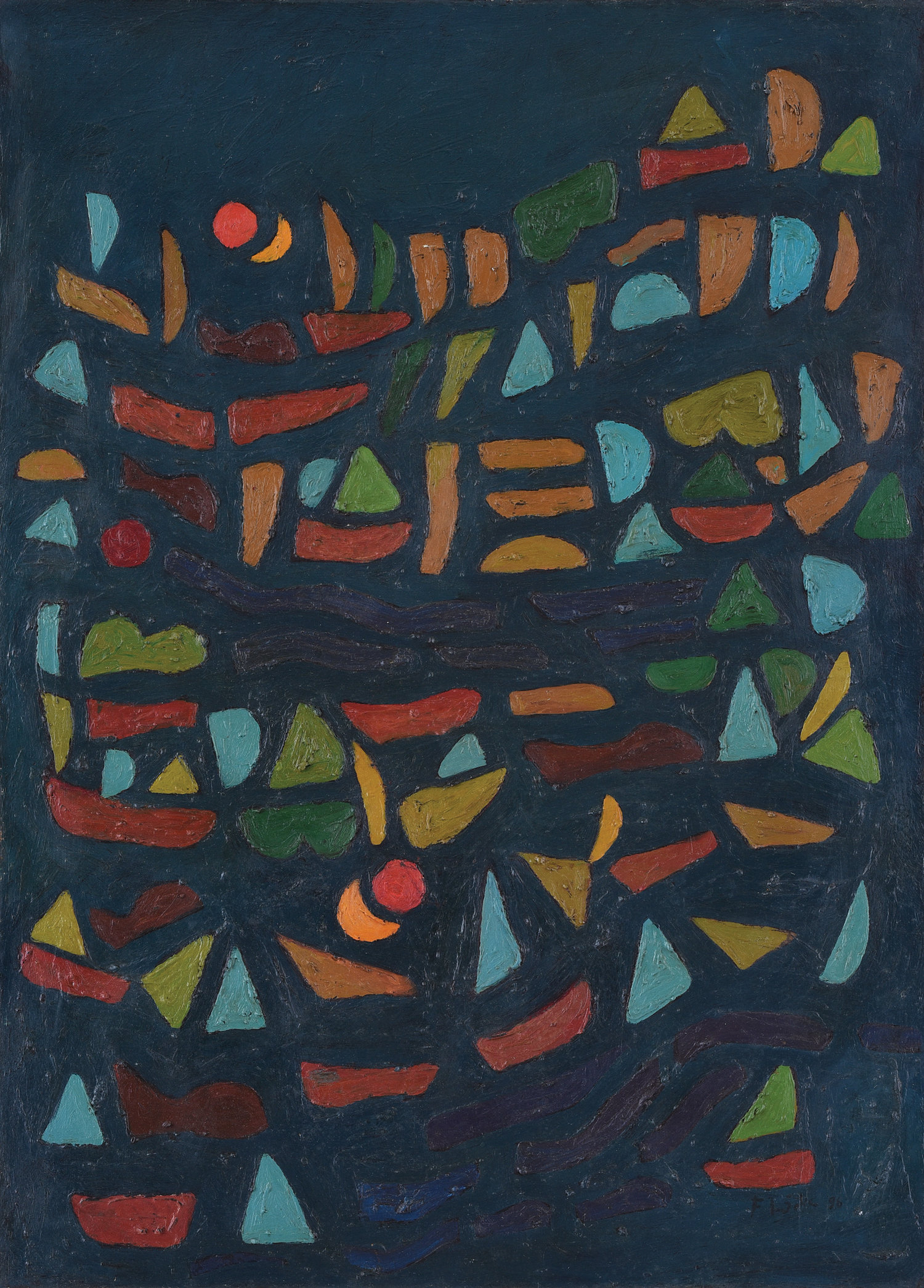 Fadjar Sidik, Bentuk Bertumpuk dengan Dua Matahari (Stacked Forms with Two Suns), oil on canvas, 90 x 65 cm, 1996