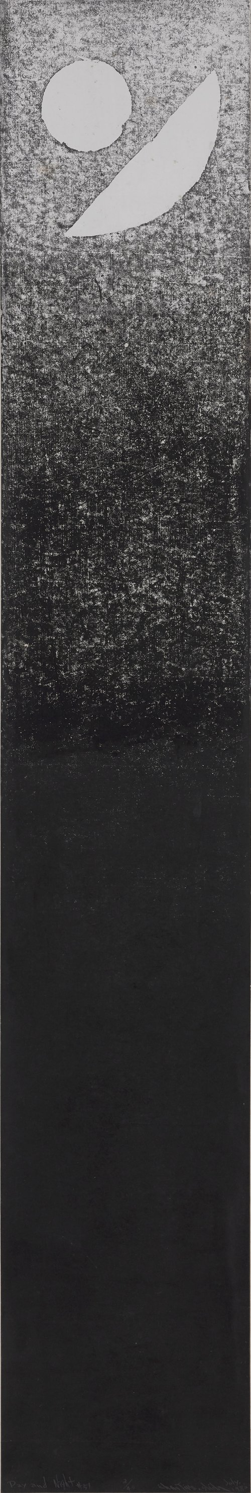 Chen Ting-Shih, Day and Night #51, woodcut print, 181 x 30.5 cm, 1982