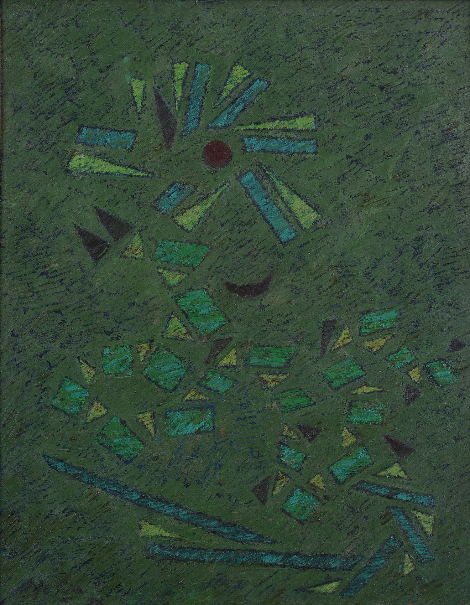 Fadjar Sidik, Sangkala Hijau (Green Sangkala), oil on canvas, 90 x 60 cm, 1990