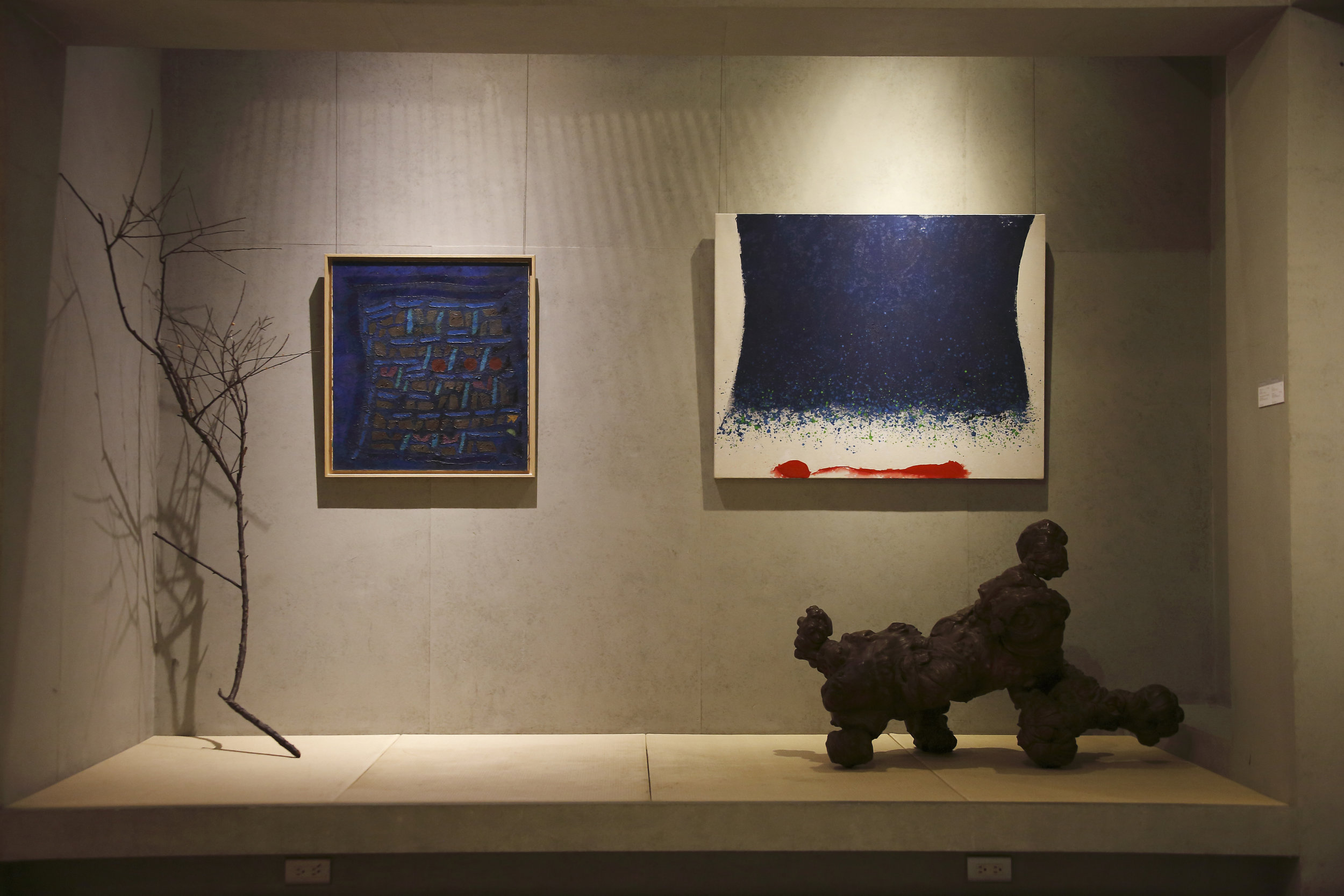 A painting by Fadjar Sidik hung alongside a painting by Hsiao Chin in CANS Tea House, Taipei, Taiwan